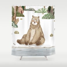 Mr.Brown is chilling by the river. Shower Curtain