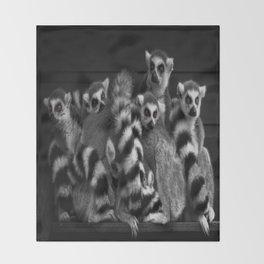Gang Of Ring-Tailed Lemurs Throw Blanket