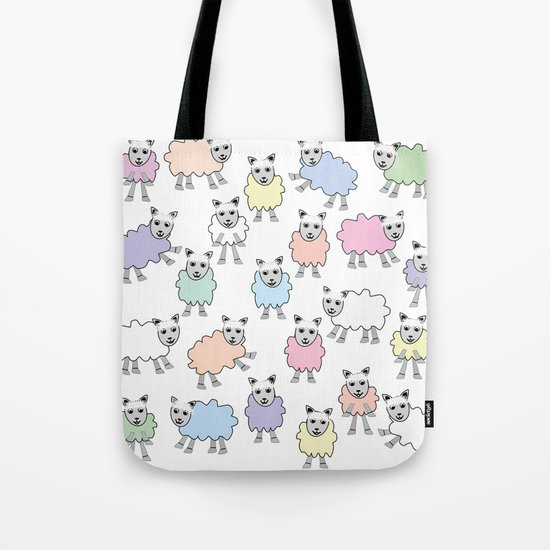 Colorful Counting Sheep Bedtime Pattern Tote Bag