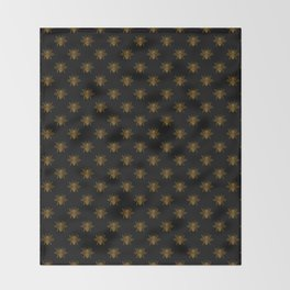 Foil Bees on Black Gold Metallic Faux Foil Photo-Effect Bees Throw Blanket