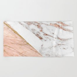 Marble rose gold blended Beach Towel