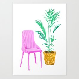 Pink Chair and Palm Tree Art Print