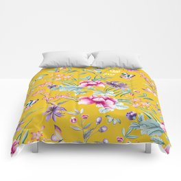 Yellow Chinoiserie Asian Floral Print Comforters