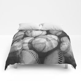 Baseballs in Black and White Comforters