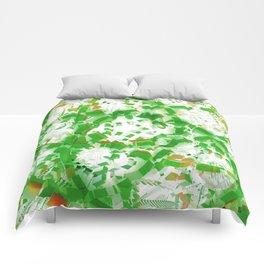 Green industrial abstract Comforters