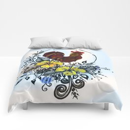 Pen and ink drawing, Rooster art, colorful art, watercolor and digital art Comforters