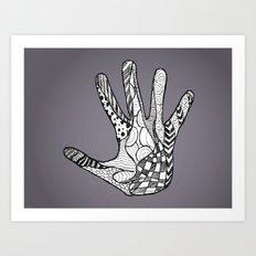 Doodle Hand (Black White) Art Print
