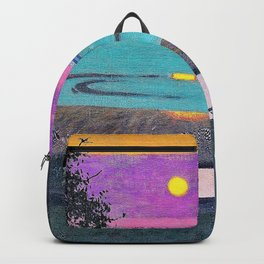 Felix Edouard Vallotton - Sunset at Grace, orange and violet sky - Digital Remastered Edition Backpack