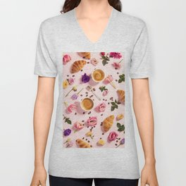 Morning coffee, croissants and a beautiful flowers Unisex V-Neck