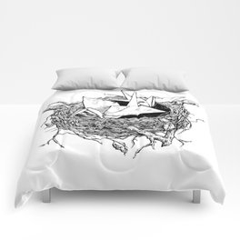 birds made of paper in a nest Comforters