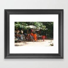 Cambodian monks Framed Art Print