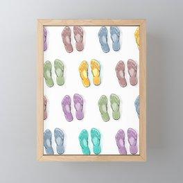 Happy coloured flip flops summer vibes Framed Mini Art Print