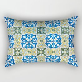 Seamless Floral Pattern Ornamental Tile Design : 6  blue, yellow Rectangular Pillow