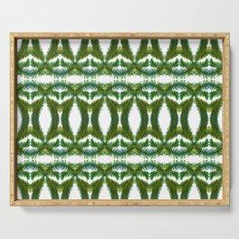 Palm Leaf Kaleidoscope (on white) #2 Serving Tray
