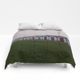 Preston Beach Huts On A Foggy Morning Comforters