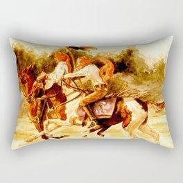 Horses and People No.1 Rectangular Pillow