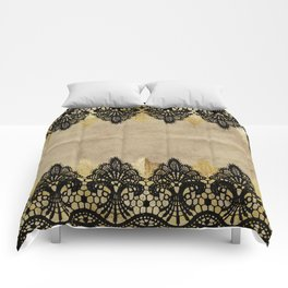 Elegance- Ornament black and gold lace on grunge paper backround Comforters