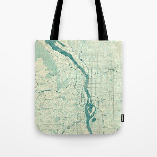 Portland Map Blue Vintage Tote Bag
