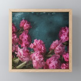 Peony Romance Teal Framed Mini Art Print