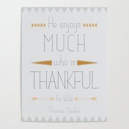 Thankful - Thomas Secker Quote Poster