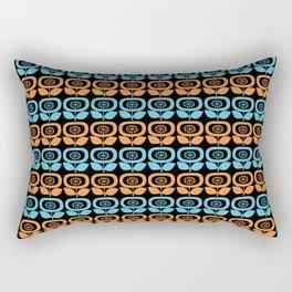 Mid Century Modern Retro Abstract Flowers Turquoise and Orange on Black Rectangular Pillow