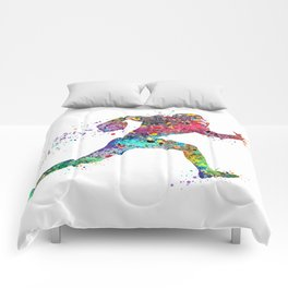 Football Player Sports Art Print Watercolor Print American Football Comforters