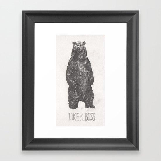 Like a Boss Bear Framed Art Print