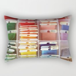 The Endless Possibilities of a Box of Colorful Embroidery Floss  Rectangular Pillow