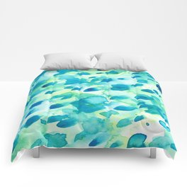 Blue, Green and Aqua Abstract Watercolor Painted Spots Comforters