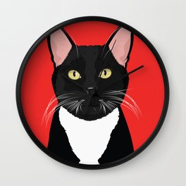 Tuxedo Cat Art Poster by Artist A.Ramos. Designed in Bold Colors. Perfect for Pet Lovers Wall Clock