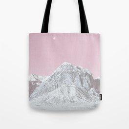 Mojave Pink Sky // Red Rock Canyon Las Vegas Desert Landscape Snowstorm Moon Mountains Tote Bag