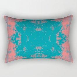 Living Coral Turquoise Shibori Tye Dye Rectangular Pillow