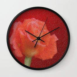orange single rose bloom in small mosaic on a colored background of small hexagons Wall Clock