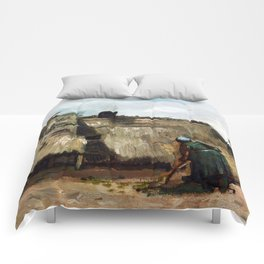 A Peasant Woman Digging in Front of Her Cottage by Vincent Van Gogh Comforters