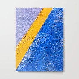 Abstract Blue and Yellow Metal Print