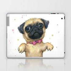 Cute Pug Puppy Dog Watercolor Painting Laptop & iPad Skin