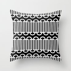 Black & white lines & curves pattern Throw Pillow