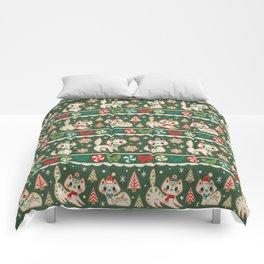 Striped Gingerbread Kitties (Green) Comforters