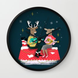 Reindeer Christmas Carols by Andrea Lauren  Wall Clock