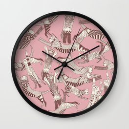 cat party pink Wall Clock
