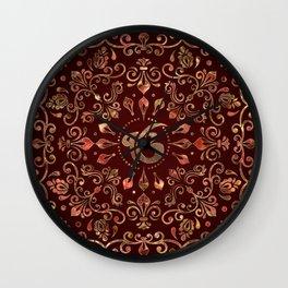 Ek Onkar / Ik Onkar  Gemstone red and gold Wall Clock