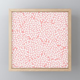 White Floral Pattern on Coral - Mix & Match with Simplicity of Life Framed Mini Art Print