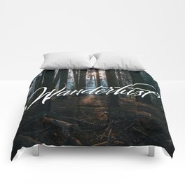 Wanderlust lettering Comforters
