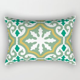 Moroccan Mosaic Tile Pattern Green Yellow Rectangular Pillow