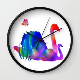 Rainbow swans Wall Clock