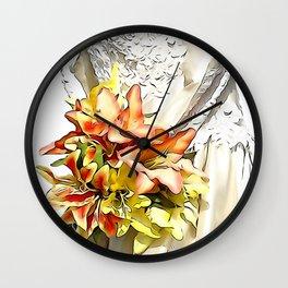 The bride had a orange lily bouquet Wall Clock