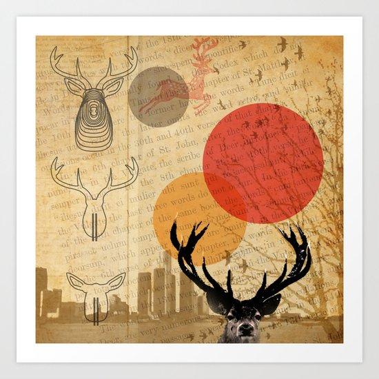 deer in the city Art Print