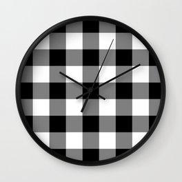 Black and White Buffalo Plaid Wall Clock