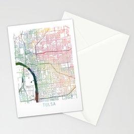 Tulsa Map Watercolor by Zouzounio Art Stationery Cards