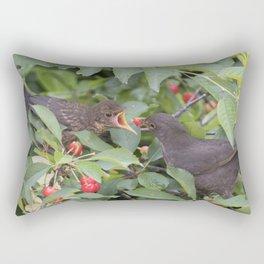 turdus merula common blackbird give food at her puppy Rectangular Pillow